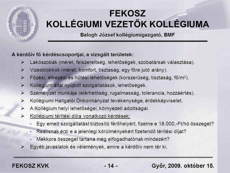 FEKOSZ KVK - 14 - Győr, 2009. október 15.