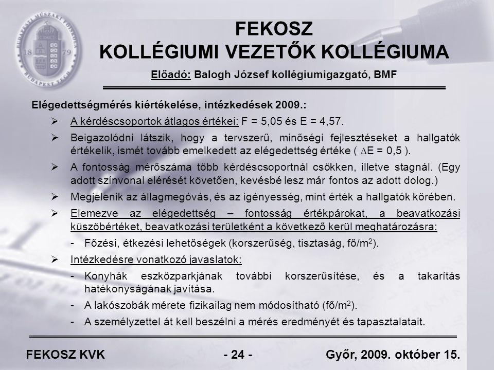 FEKOSZ KVK - 24 - Győr, 2009. október 15.
