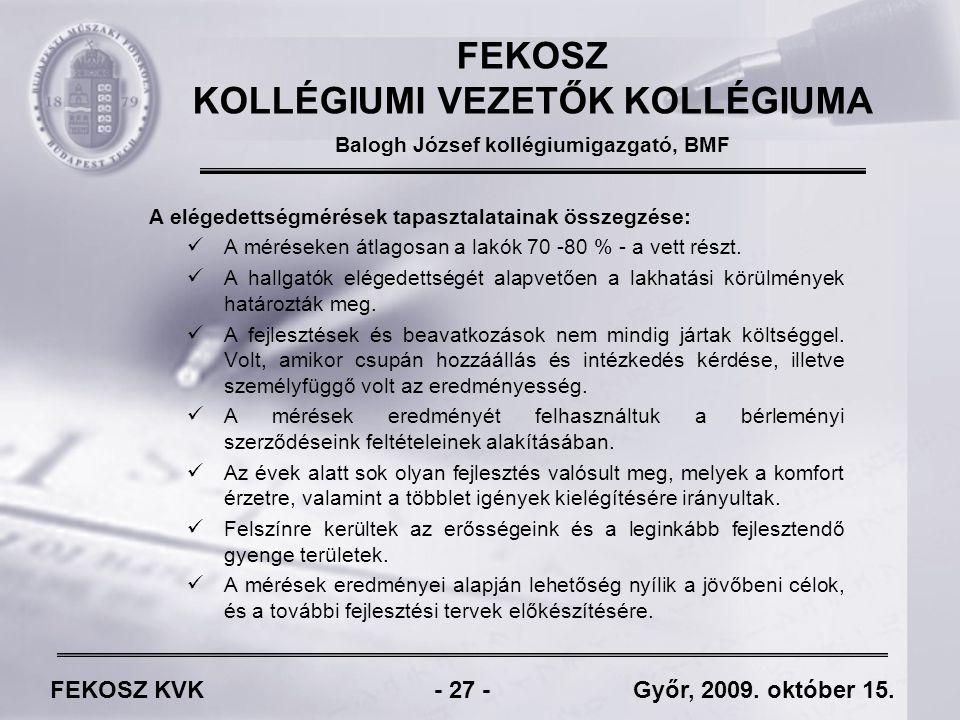 FEKOSZ KVK - 27 - Győr, 2009. október 15.