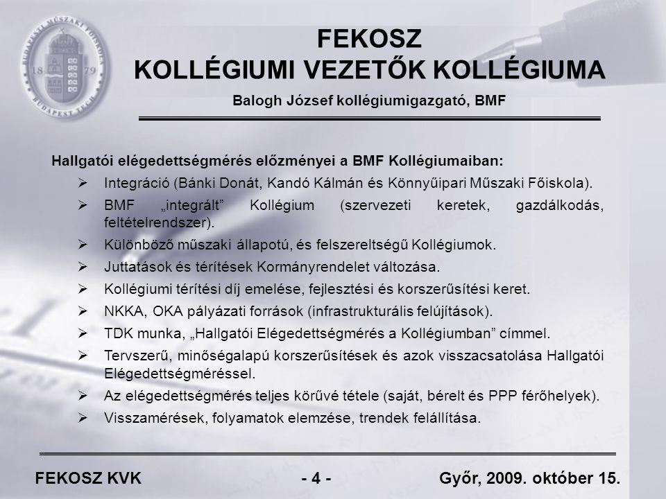 FEKOSZ KVK - 15 - Győr, 2009.október 15.