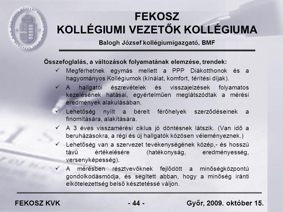 FEKOSZ KVK - 44 - Győr, 2009. október 15.