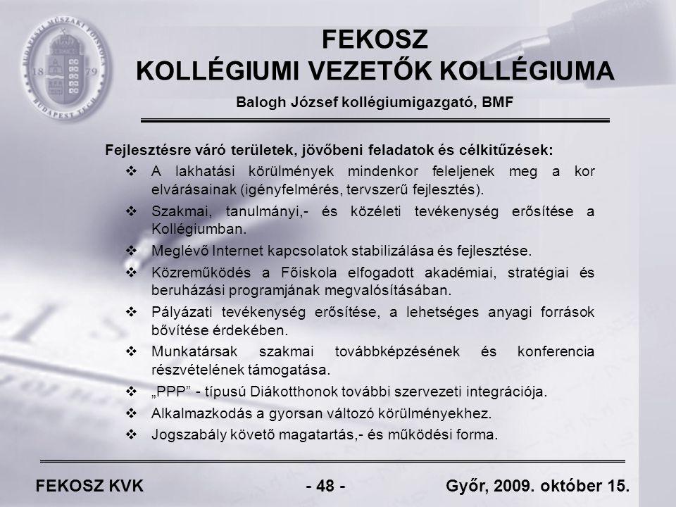 FEKOSZ KVK - 48 - Győr, 2009. október 15.