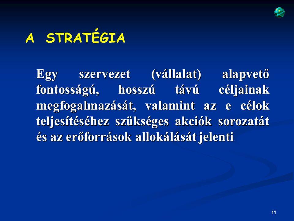 12 A JÖVŐKÉP A szervezet lehetséges és kívánatos jövőbeni állapotát rögzíti A KÜLDETÉS Arra ad választ, hogy mi a szervezet létezésének célja, mi az a szerep, amit be akar tölteni