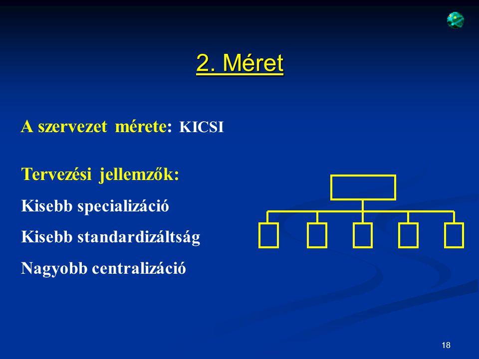 19 A szervezet mérete: NAGY Tervezési jellemzők: Nagyobb specializáció Nagyobb standardizáltság Nagyobb decentralizáció