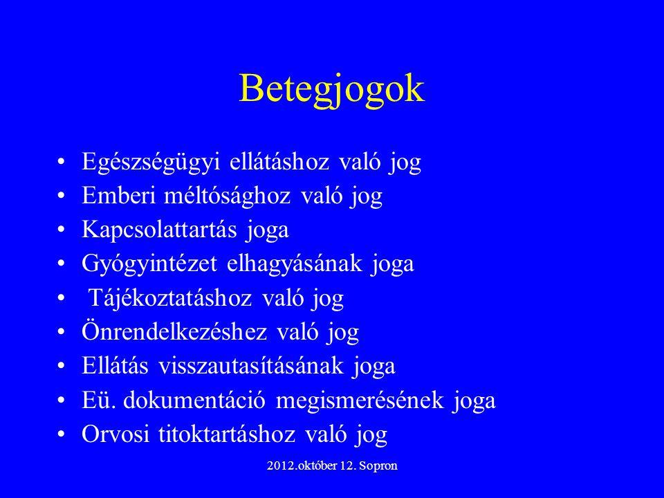 2012.október 12. Sopron Betegjogok Egészségügyi ellátáshoz való jog Emberi méltósághoz való jog Kapcsolattartás joga Gyógyintézet elhagyásának joga Tá
