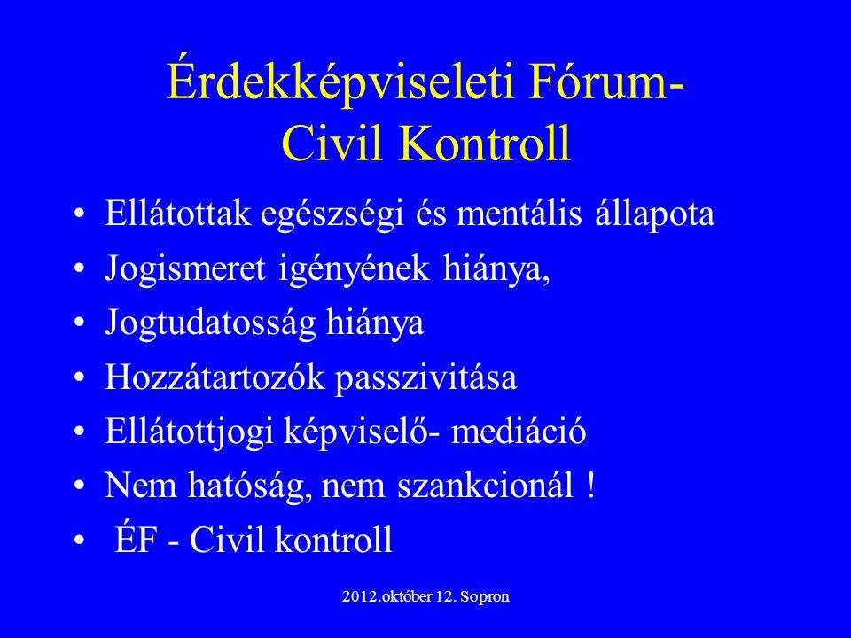 2012.október 12. Sopron Érdekképviseleti Fórum- Civil Kontroll Ellátottak egészségi és mentális állapota Jogismeret igényének hiánya, Jogtudatosság hi