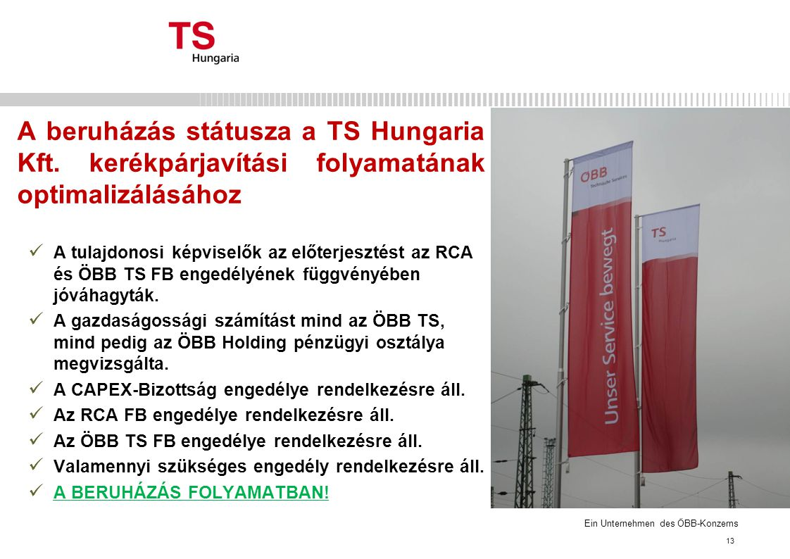 Ein Unternehmen des ÖBB-Konzerns A beruházás státusza a TS Hungaria Kft.