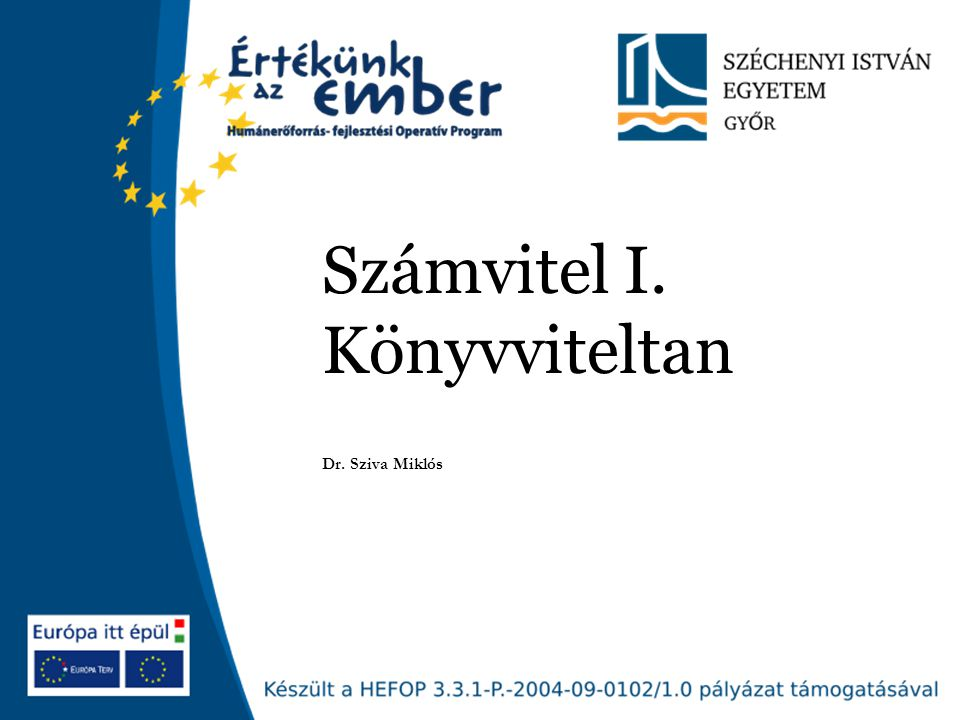 Számvitel I. Könyvviteltan Dr. Sziva Miklós