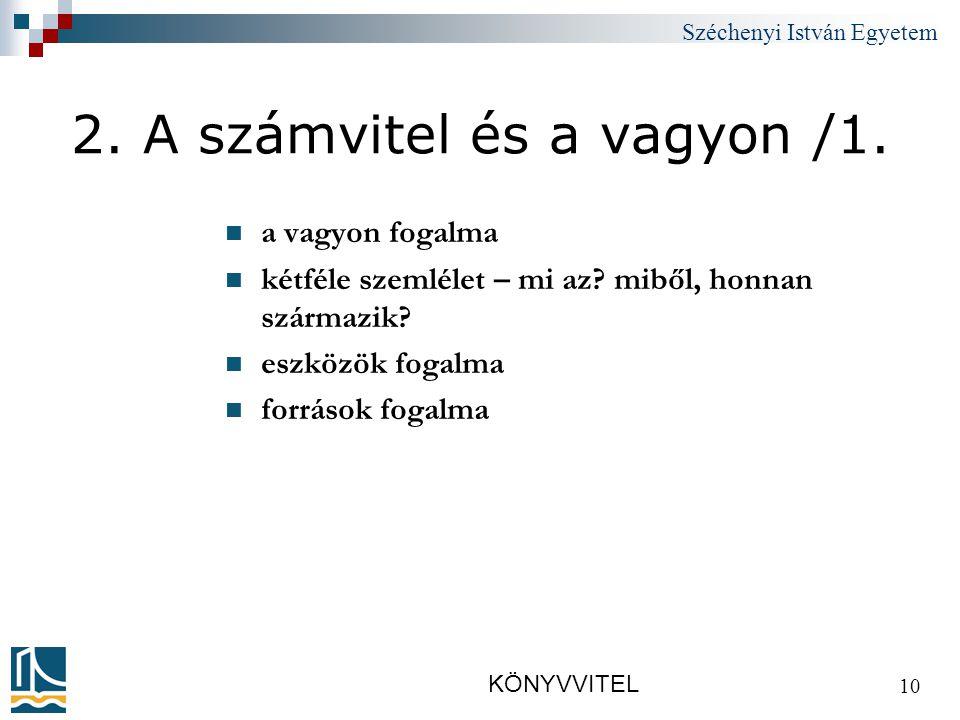 Széchenyi István Egyetem KÖNYVVITEL 10 2.A számvitel és a vagyon /1.