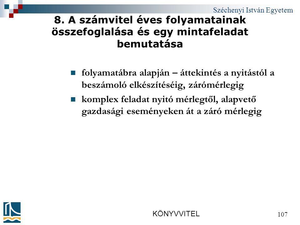 Széchenyi István Egyetem KÖNYVVITEL 107 8.