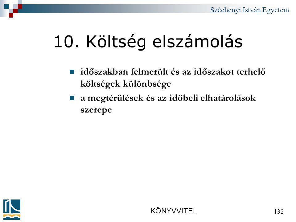 Széchenyi István Egyetem KÖNYVVITEL 132 10.