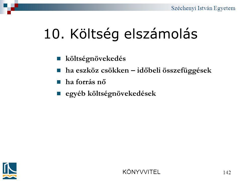 Széchenyi István Egyetem KÖNYVVITEL 142 10.