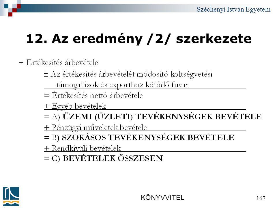 Széchenyi István Egyetem KÖNYVVITEL 167 12. Az eredmény /2/ szerkezete
