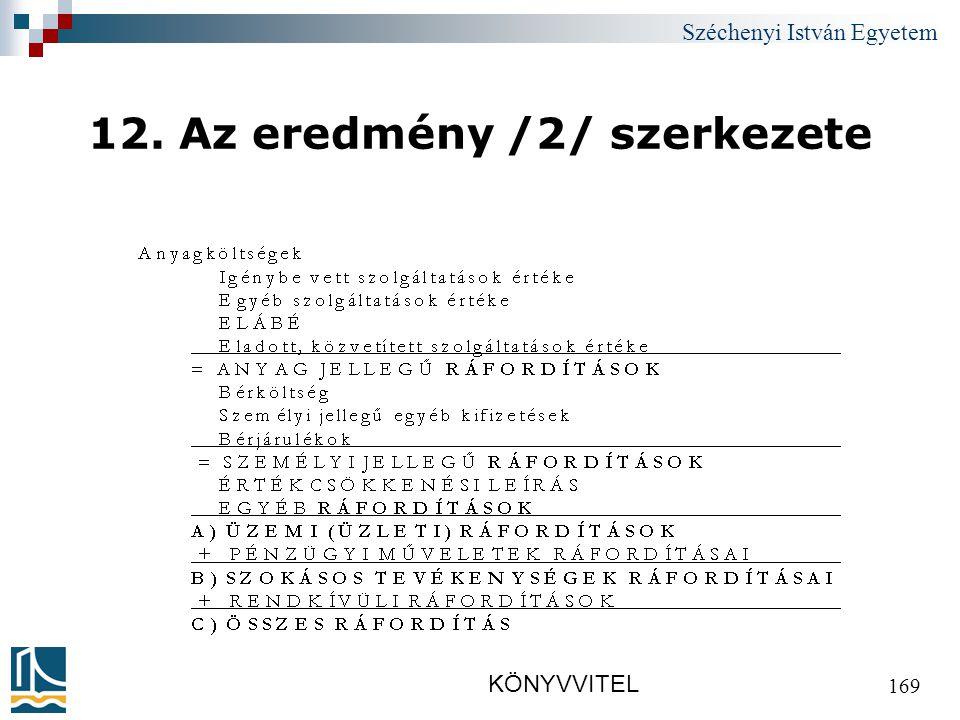 Széchenyi István Egyetem KÖNYVVITEL 169 12. Az eredmény /2/ szerkezete
