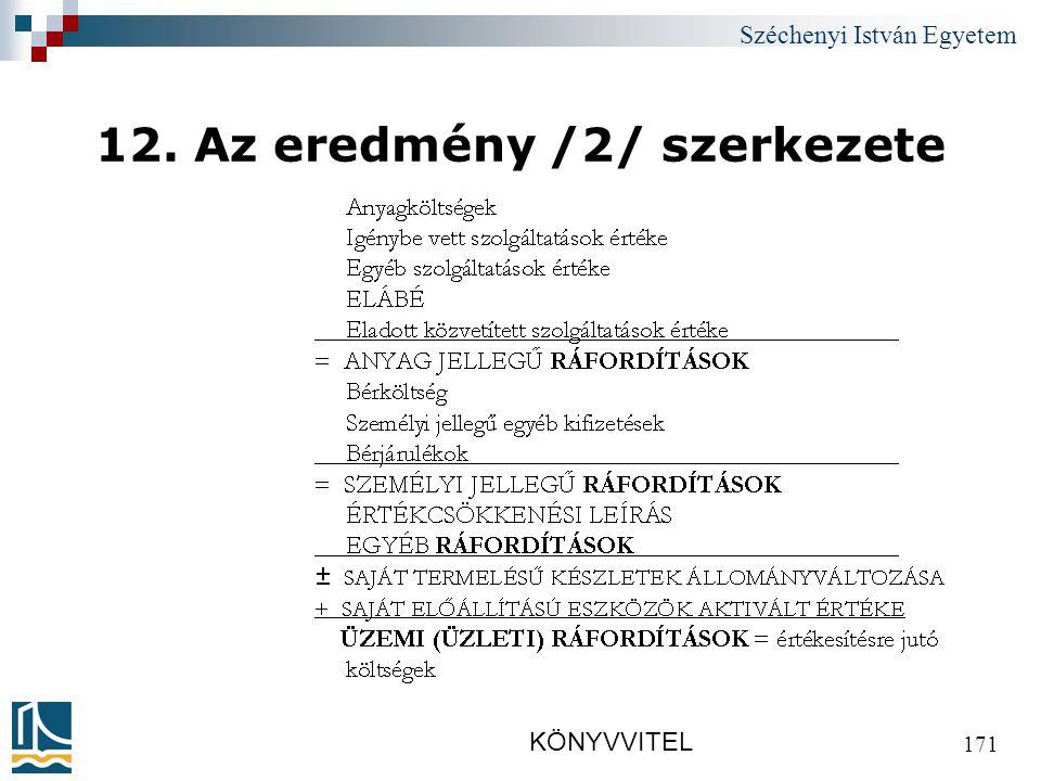 Széchenyi István Egyetem KÖNYVVITEL 171 12. Az eredmény /2/ szerkezete