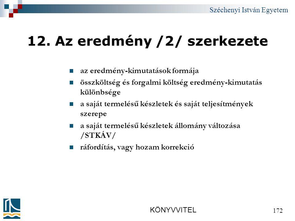 Széchenyi István Egyetem KÖNYVVITEL 172 12.