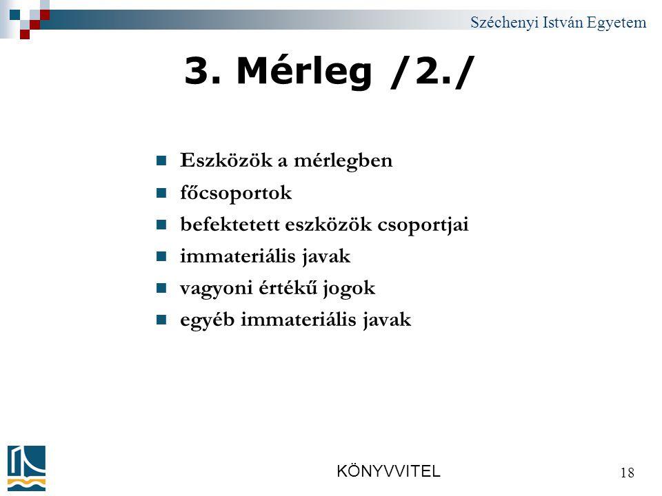 Széchenyi István Egyetem KÖNYVVITEL 18 3.