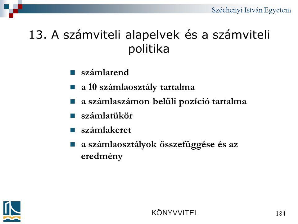Széchenyi István Egyetem KÖNYVVITEL 184 13.