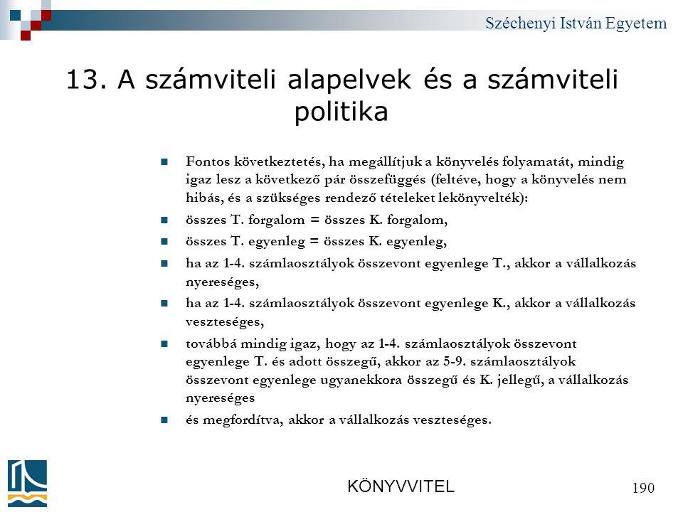 Széchenyi István Egyetem KÖNYVVITEL 190 13.