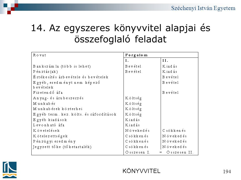 Széchenyi István Egyetem KÖNYVVITEL 194 14. Az egyszeres könyvvitel alapjai és összefoglaló feladat