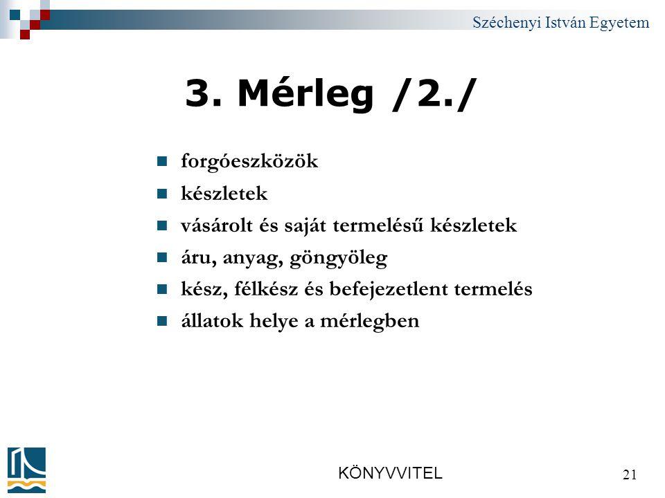 Széchenyi István Egyetem KÖNYVVITEL 21 3.