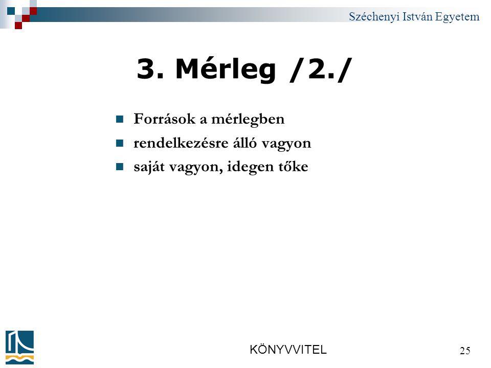 Széchenyi István Egyetem KÖNYVVITEL 25 3.