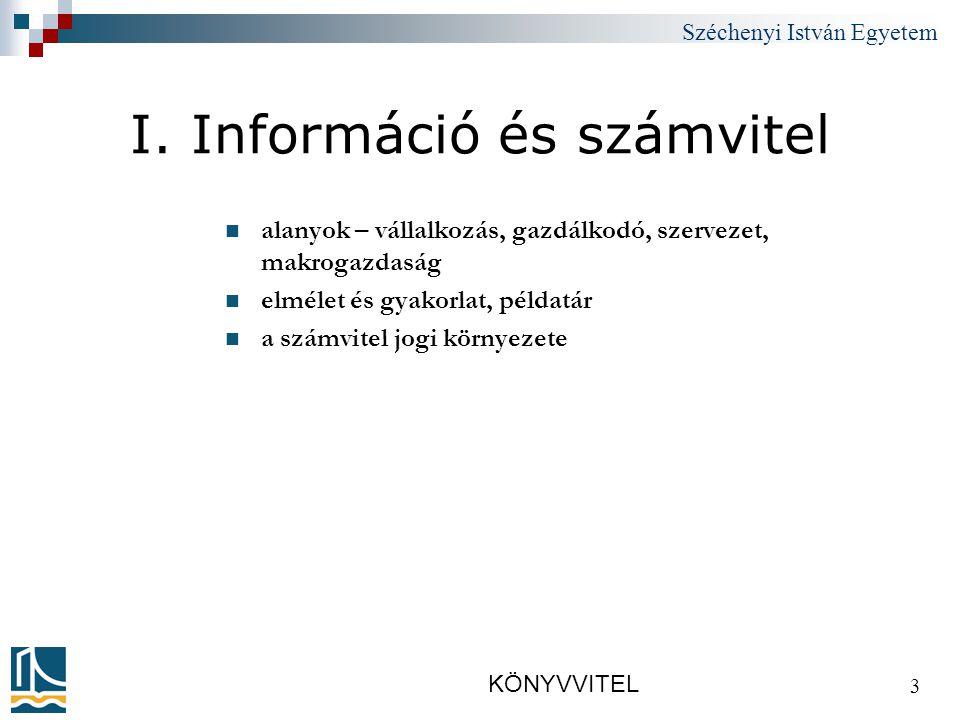 Széchenyi István Egyetem KÖNYVVITEL 14 2.A számvitel és a vagyon /1.