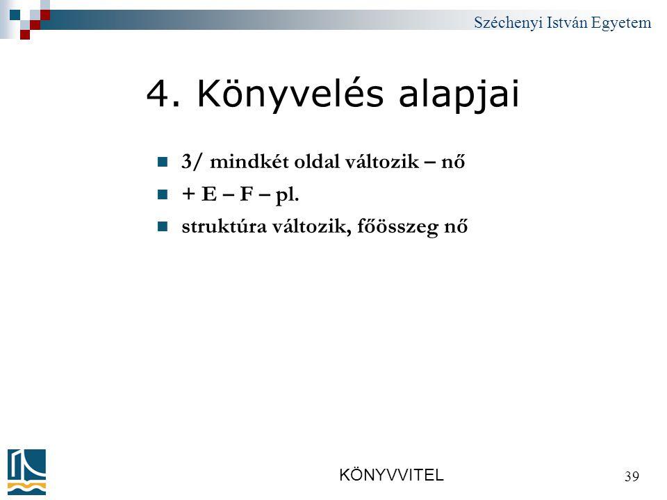 Széchenyi István Egyetem KÖNYVVITEL 39 4.