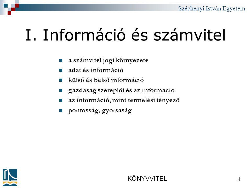 Széchenyi István Egyetem KÖNYVVITEL 15 2.