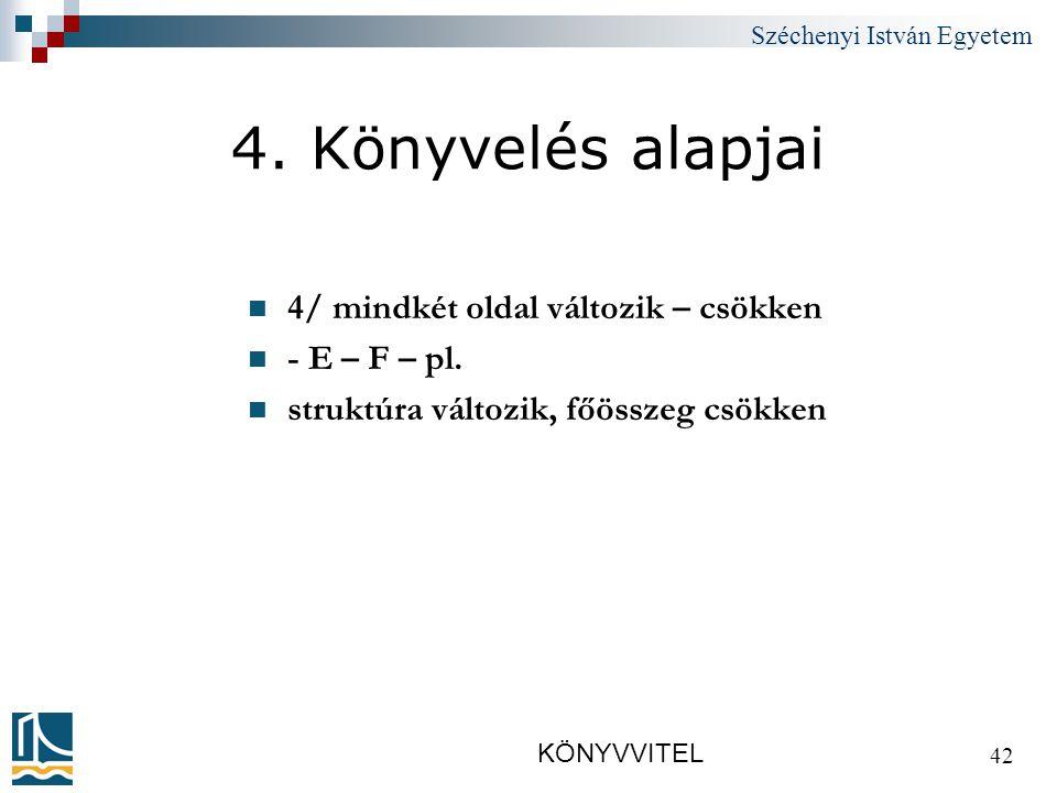 Széchenyi István Egyetem KÖNYVVITEL 42 4.