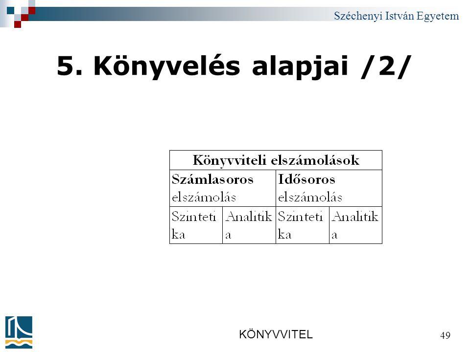 Széchenyi István Egyetem KÖNYVVITEL 49 5. Könyvelés alapjai /2/