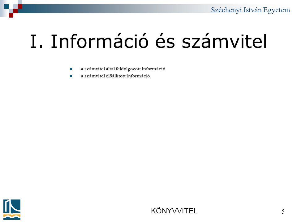 Széchenyi István Egyetem KÖNYVVITEL 16 2.A számvitel és a vagyon /1.