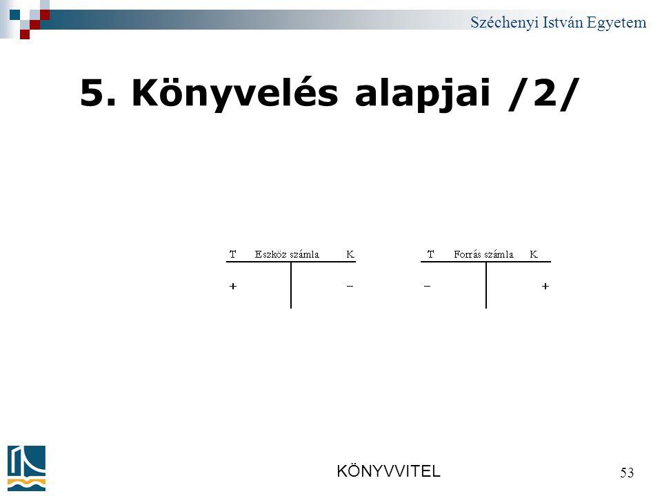 Széchenyi István Egyetem KÖNYVVITEL 53 5. Könyvelés alapjai /2/