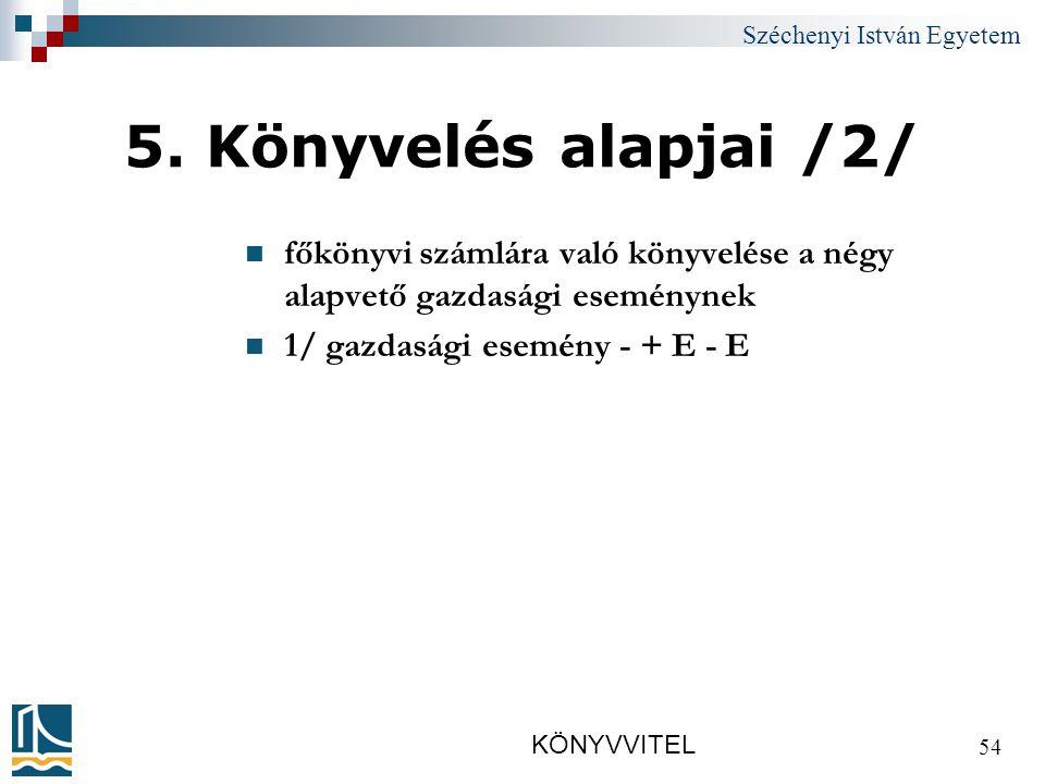 Széchenyi István Egyetem KÖNYVVITEL 54 5.