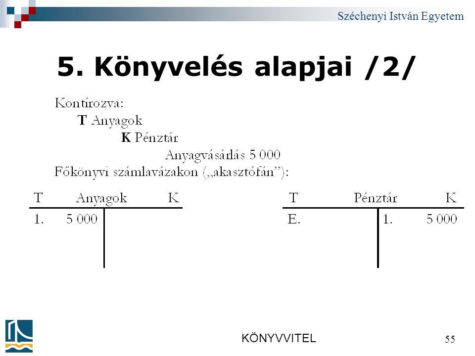 Széchenyi István Egyetem KÖNYVVITEL 55 5. Könyvelés alapjai /2/
