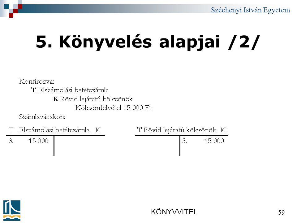 Széchenyi István Egyetem KÖNYVVITEL 59 5. Könyvelés alapjai /2/