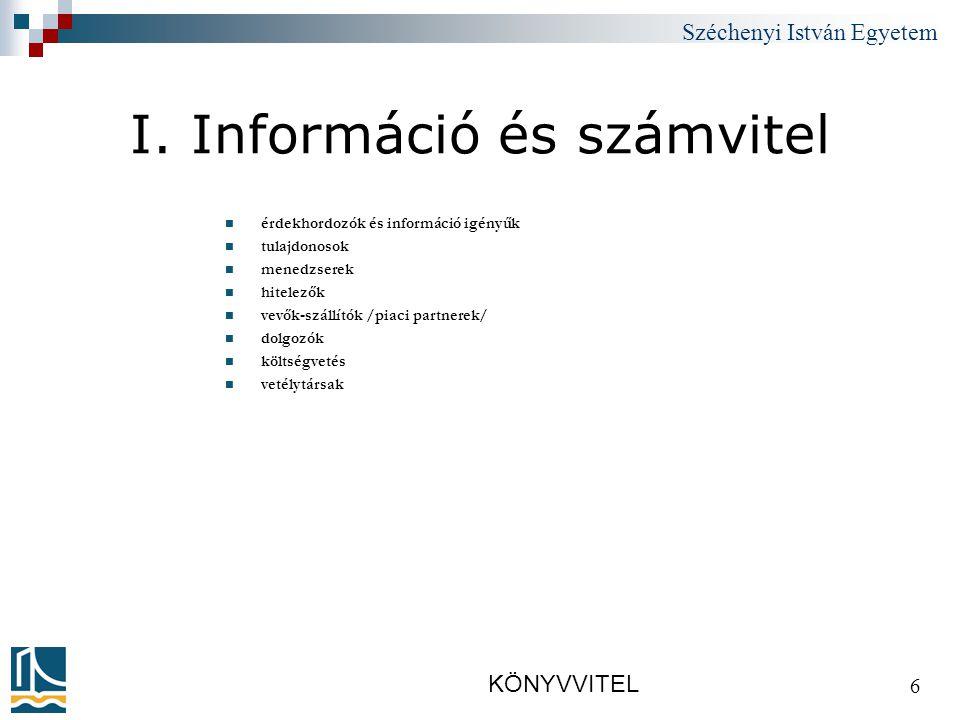 Széchenyi István Egyetem KÖNYVVITEL 37 4. Könyvelés alapjai