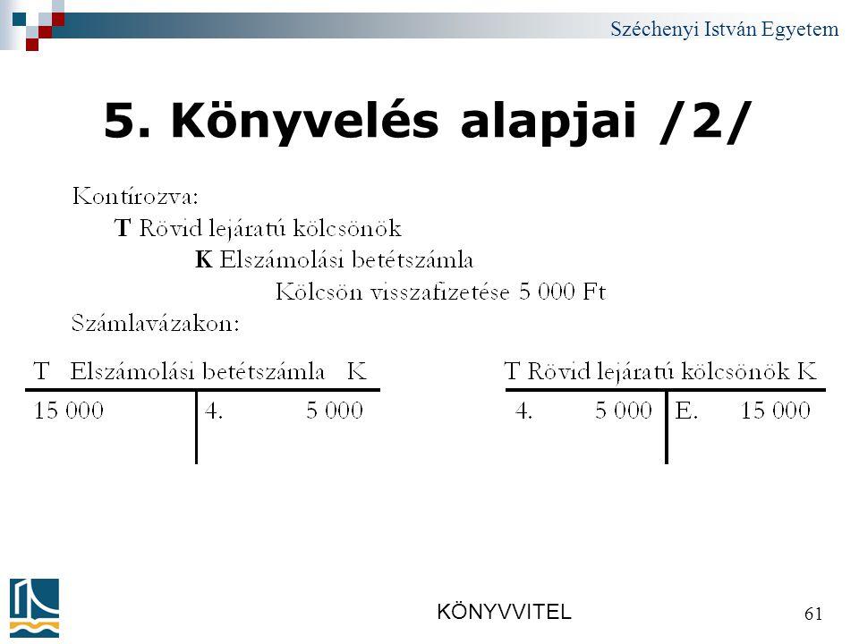 Széchenyi István Egyetem KÖNYVVITEL 61 5. Könyvelés alapjai /2/
