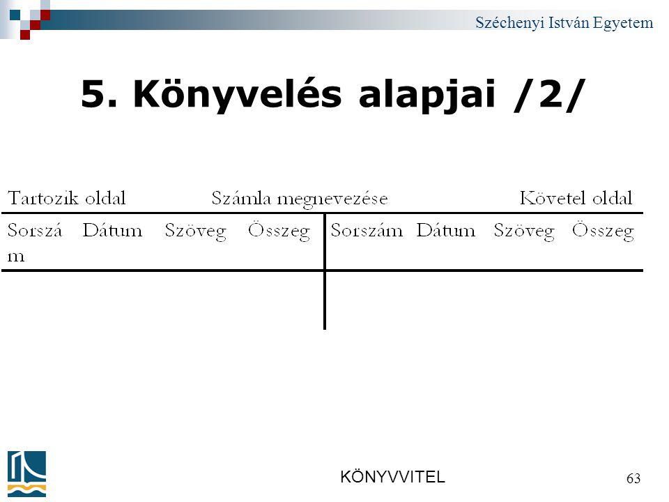 Széchenyi István Egyetem KÖNYVVITEL 63 5. Könyvelés alapjai /2/