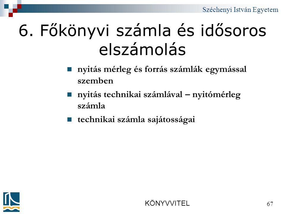 Széchenyi István Egyetem KÖNYVVITEL 67 6.