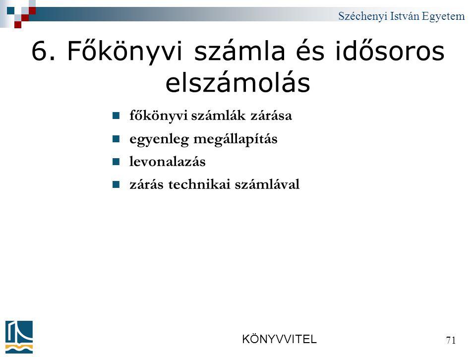 Széchenyi István Egyetem KÖNYVVITEL 71 6.