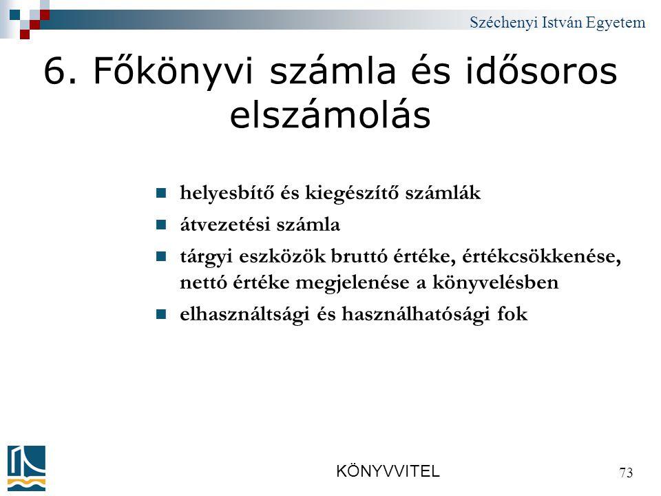 Széchenyi István Egyetem KÖNYVVITEL 73 6.
