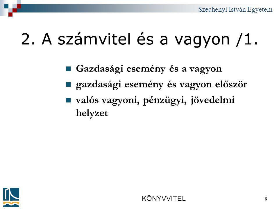 Széchenyi István Egyetem KÖNYVVITEL 8 2.A számvitel és a vagyon /1.