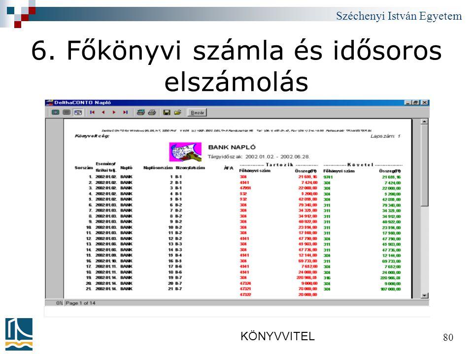 Széchenyi István Egyetem KÖNYVVITEL 80 6. Főkönyvi számla és idősoros elszámolás