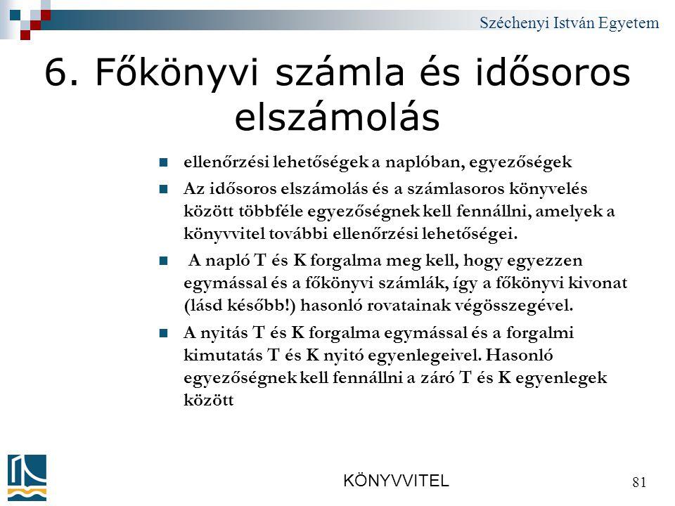 Széchenyi István Egyetem KÖNYVVITEL 81 6.