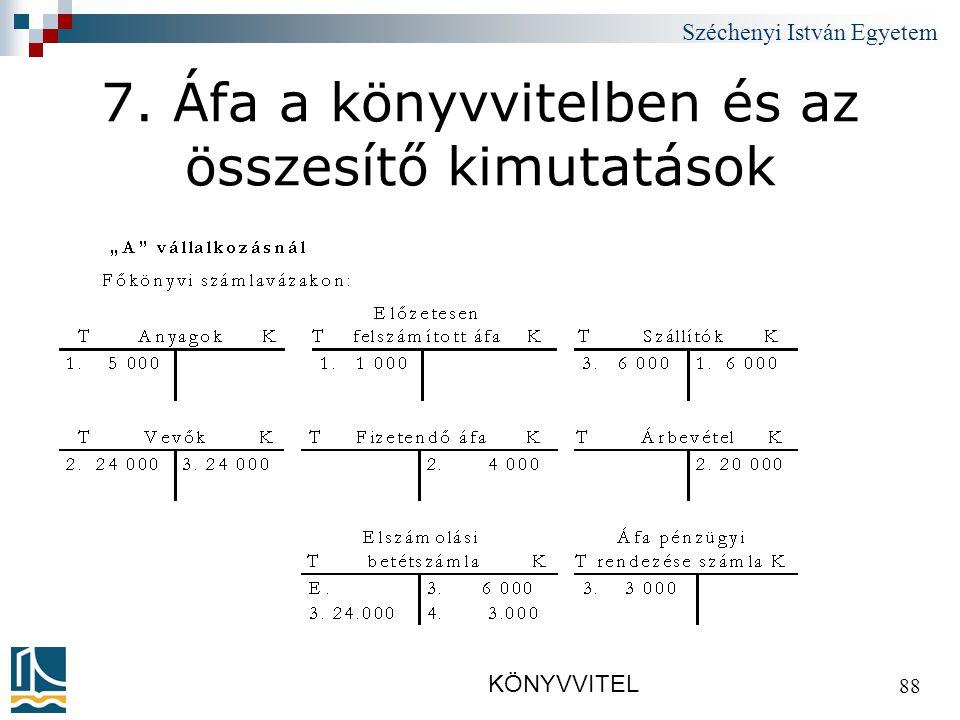 Széchenyi István Egyetem KÖNYVVITEL 88 7. Áfa a könyvvitelben és az összesítő kimutatások