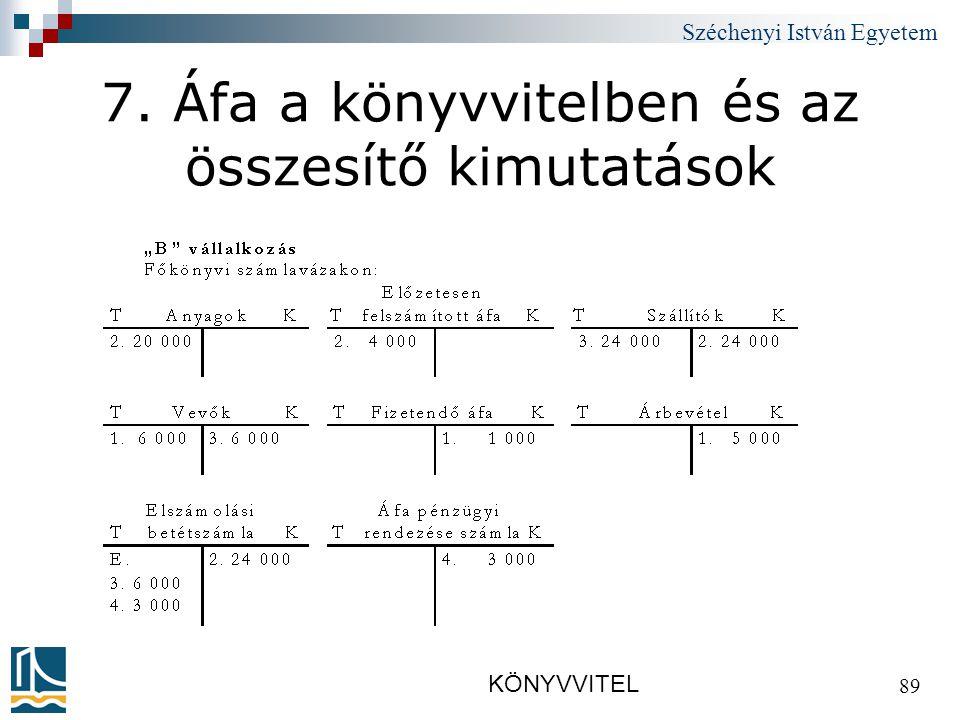 Széchenyi István Egyetem KÖNYVVITEL 89 7. Áfa a könyvvitelben és az összesítő kimutatások