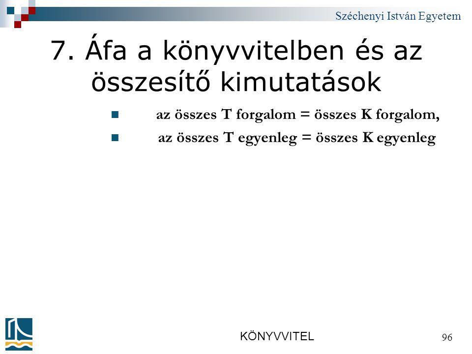 Széchenyi István Egyetem KÖNYVVITEL 96 7.