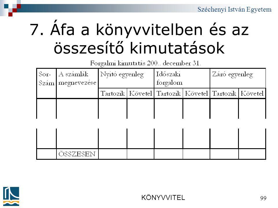 Széchenyi István Egyetem KÖNYVVITEL 99 7. Áfa a könyvvitelben és az összesítő kimutatások