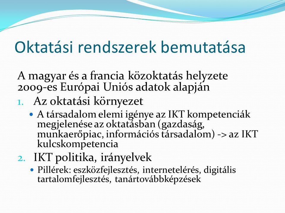 Oktatási rendszerek bemutatása A magyar és a francia közoktatás helyzete 2009-es Európai Uniós adatok alapján 1.